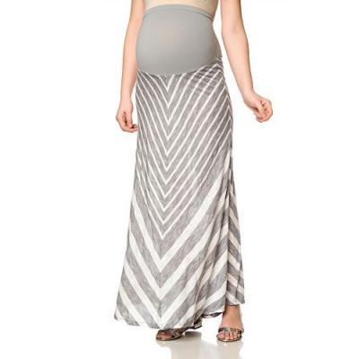 Secret Fit Belly Mitered Stipe Maxi Skirt-Maternity