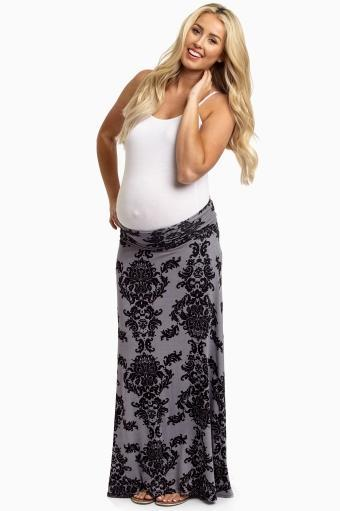 PinkBlush Print Maxi Maternity Skirt