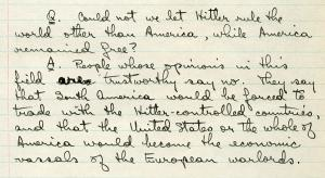 Excerpt of Pauling's preparation for his Union Now talk, July 1940.