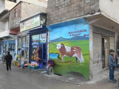 A cow mural in unusual