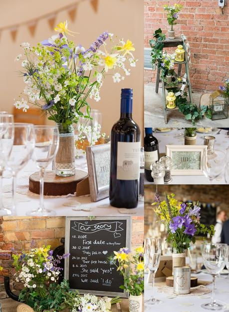 Barmbyfield Barn Wedding Photography Country Chic wedding details with wildflowers