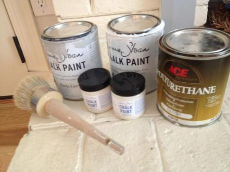 My Annie Sloan paints and Annie Sloan brush. I have a small one and a large one.