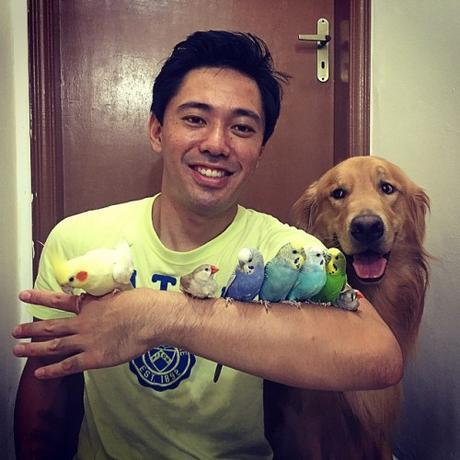 Luis Higa and his animal family