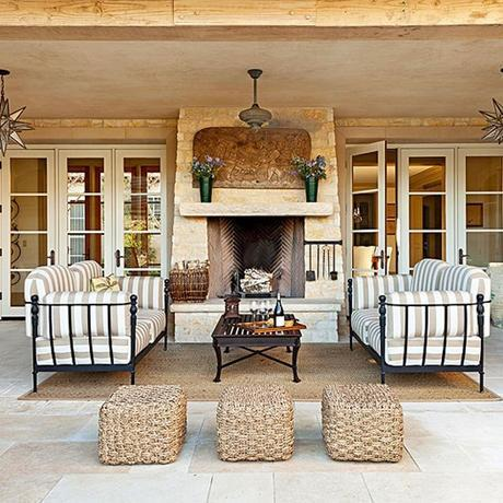neutral outdoor patio with french doors