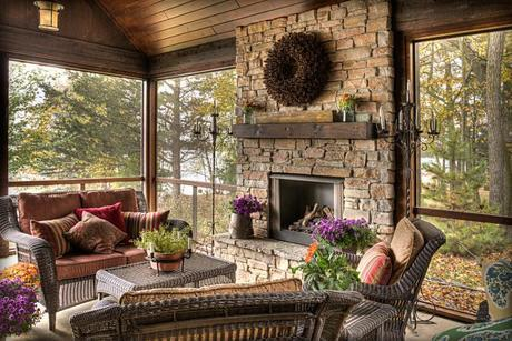 scenic screened porch in woods