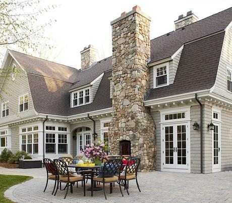 gorgeous stone outdoor fireplace