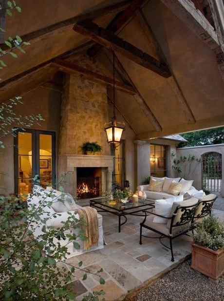 rustic old world covered porch