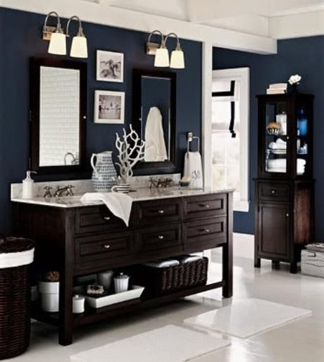 Masculine Male Mens Bathroom Design Style Ideas Tips Decorate Interior Dark  Blue Color Wood Vanity Double