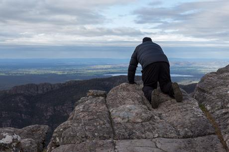 on edge of cliff grampians