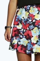 Petite Bella Scuba Floral Mini Skirt alternative image