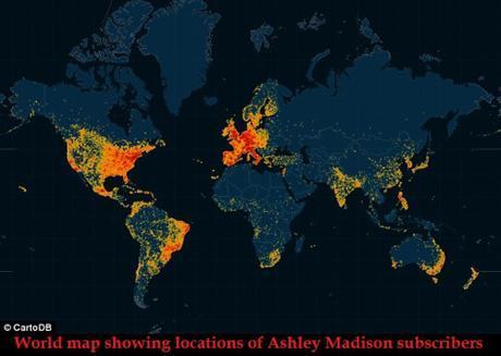world map of Ashley Madison subscribers