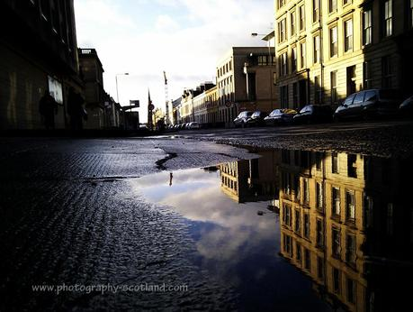 Urban photo - Glasgow building reflected
