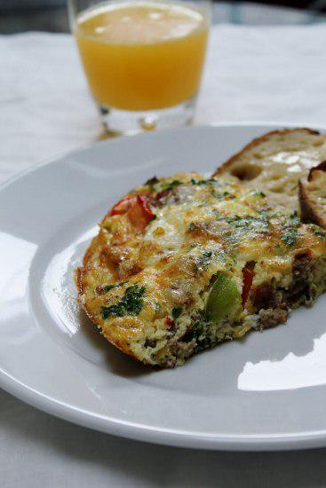 Food: Breakfast Sausage and Pepper Frittata with Guryere.