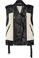 Karl Ossie two-tone leather biker vest