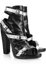 Metallic-buckled leather sandals