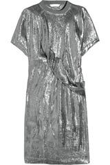 Karl Davina ruched metallic silk-blend dress