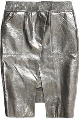 Karl Safa metallic leather skirt