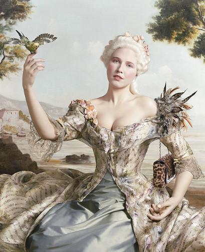 A leopard-print shoulder bag has managed to find a home nestled under the arm of Jean-Marc Nattier's Marquise de Pompadour portrait