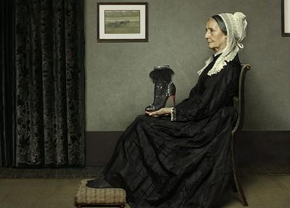 Arrangement in Grey and Black: The Artist's Mother, by James McNeill Whistler, has been given a Louboutin makeover. Under photographer Peter Lipmann's eye, instead of clutching a hankerchief, Whistler's Mother can be seen holding the fashion-forward 'Tootsie' ankle boot (£1,895), adorned with roccia leathers and studded piping.