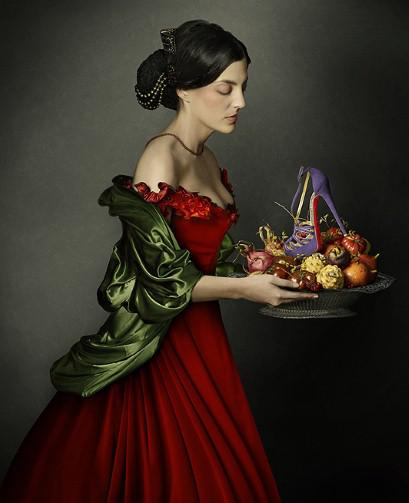 Francisco de Zurbaran's Santa Dorotea carefully holds a fruit platter bearing the new '8 Mignon' strappy sandals (£765)