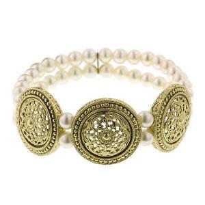 pearl medallion stretch bracelet