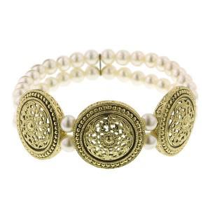 pearl medallion stretch bracelet