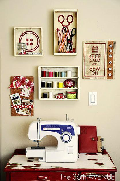 Great looking sewing areas, all from Pinterest . Makes you want to