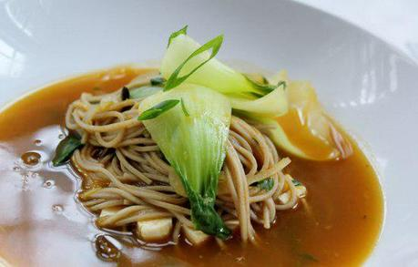 Food: Soba Noodle and Tofu Soup with Baby Bok Choy.