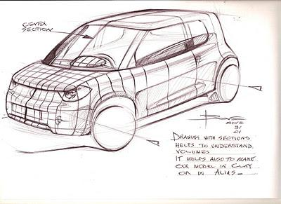 Drawing sections on our car sketch
