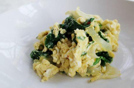 Food: Gingered Chinese Five Spiced Eggs with Spinach.