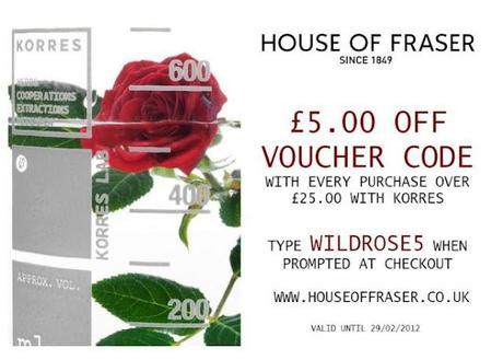 £5.00 Voucher Code With Every Purchase Over £25 With Korres & House of Fraser!