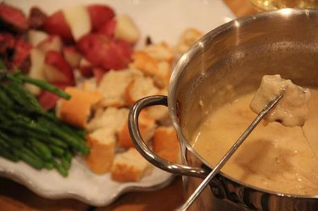 Cheese Fondue with a Valentine Cocktail