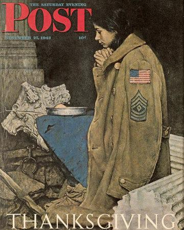 Norman Rockwell Thanksgiving: Girl Praying Saturday Evening Post November 27, 1943