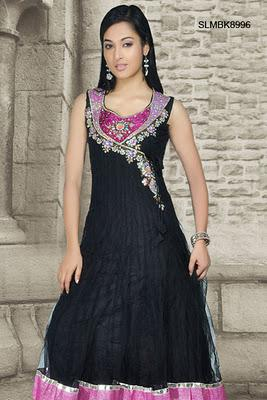 Beguiling Black Net Anarkali Churidar Set