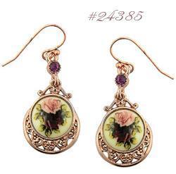 retro rose vintage drop earrings