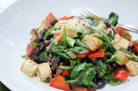 Food: Mexican Tofu and Spinach Stir Fry.