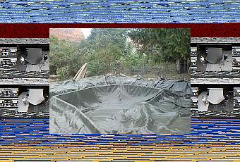 Making koi fish pond using billboard tarp pond liners for Tarpaulin fish pond
