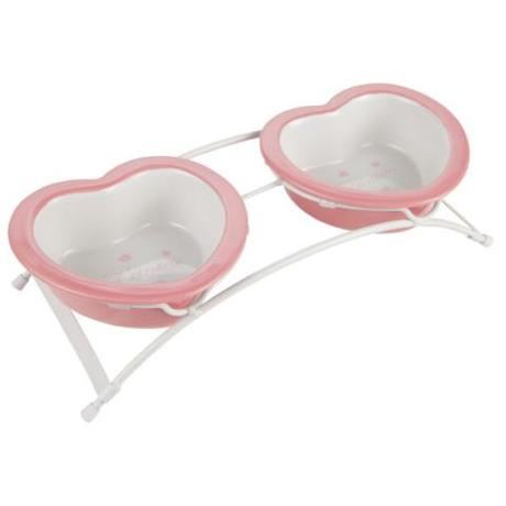 Princess Heart Shaped Double Dog Bowls by Top Paw