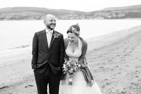 Isle of Arran wedding photography beach portraits of bride & groom Relaxed & fun