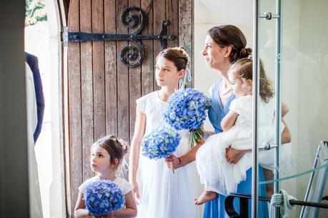 Bridesmaids Metting bride at church