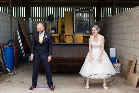 Barmbyfield Barn Wedding Photography Silly bride & groom portraits