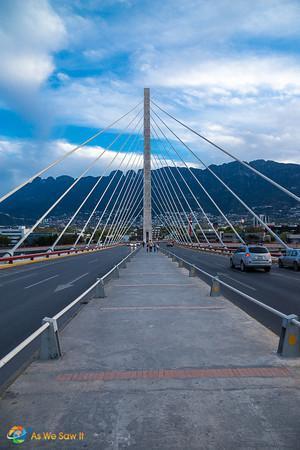 Suspension bridge used as a locals landmark in Monterrey, Mexico