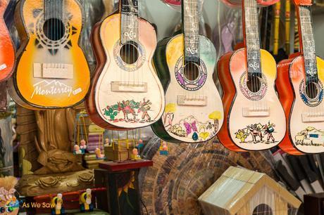 Hand painted guitars.
