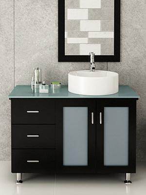 Lune Single Vessel Sink Vanity Espresso Glass Top Jwh Living Modern Design  Style Bathroom Minimalist