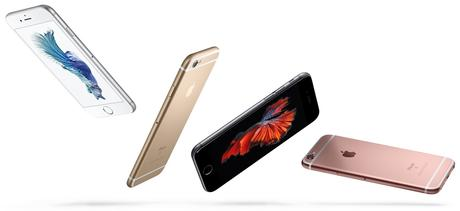 iPhone 6s in four colors falling down