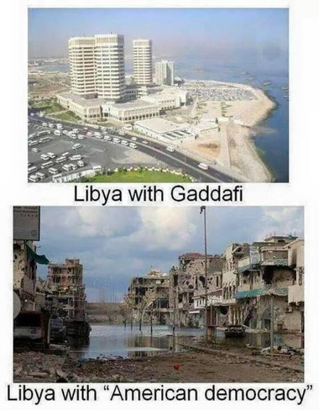 I am a liberal humanitarian bomber. The photo above shows Libya under the evil dictator Ghaddafi. The photo at bottom shows Libya after it was liberated by US jet bombers and freedom fighters consisting of Al Qaeda. God bless the Libyan people. Where would they be without America?