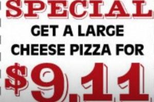 And for today only, WTC Pizza, which stores across the US, is offering a one time only deal of a large cheese pizza for $9.11 as a special in order to commemorate this important date.