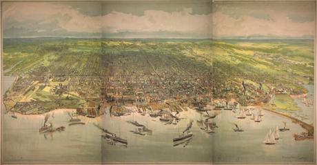 Historical Maps of Toronto - Bird's Eye View Chromolithograph