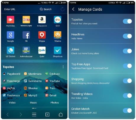 UC Browser Version 10.7 Cards