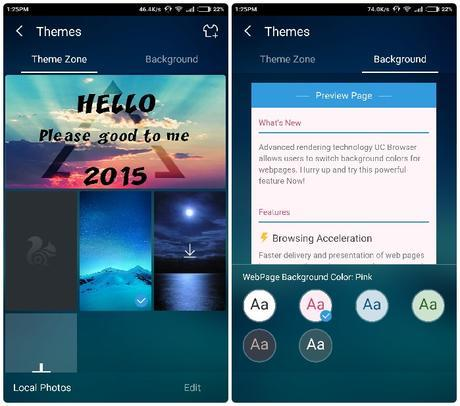 UC Browser Theme and Background Options Version10.7
